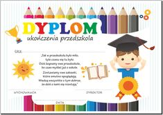Dyplom ukończenia przedszkola. 1 Logo, Graduation, Templates, Education, Diy, Moldings, Poster, Models, Do It Yourself