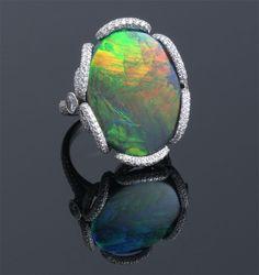 Black Opal & Diamond Ring / Platinum