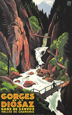 Gorges de la Diosaz Vintage Poster (artist: Broders, Roger) France c. 1930