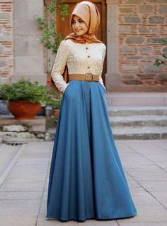 Jeans robe à lacets - Bleu - Pinar Sems
