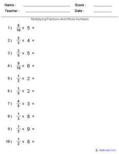 Image result for fractions multiplication whole numbers worksheets