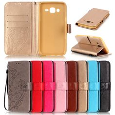 Luxury PU Leather Cell Phone Flip Cover Case For Samsung Galaxy J5 J7 2015 J500 J700 with Wallet Card Slots+Hand Strap