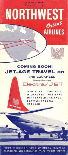 Northwest Orient Airlines Vintage Airline Timetable Advertising the Lockheed Electra Aircraft from 1959