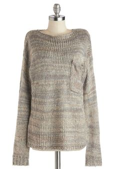 Pet Sitting Pretty Sweater - Grey, Long Sleeve, Better, Mid-length, Knit, Tan / Cream, Knitted, Pockets, Casual, Fall, Grey, Long Sleeve
