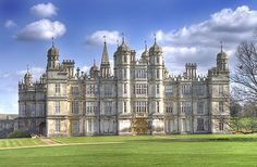 Front of Burghley House. Lincolnshire England, Stamford Lincolnshire, Stamford England, England Uk, England Houses, English Manor Houses, English Castles, Loire Valley, Beautiful Castles