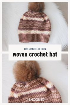 The woven stitch paired with a long, sweeping color transitions in our woven stitch crochet hat is so gorgeous it'll become a winter staple.  #BHooked #Crochet #FreeCrochetPattern All Free Crochet, Single Crochet, Easy Crochet, Crochet Hooks, Faux Fur Pom Pom, Crochet Patterns For Beginners, Yarn Over, Yarn Needle, Crochet Crafts