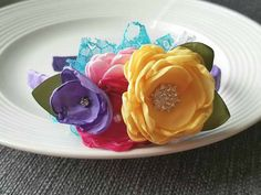 Bright Bouquet headband by JensBowdaciousBows on Etsy