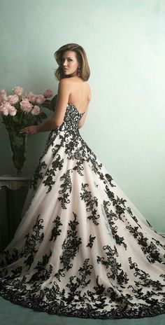 ball gown black lace dress wedding