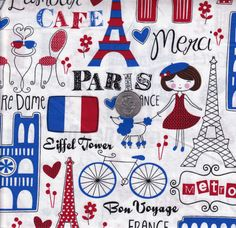 One yard  White Paris and London  Timeless Treasures by mineymo