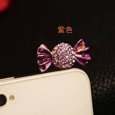 Purple How cute Rhinestone candy type mobile phone dustproof plug for $6 Only! Shop Now! for order queries inbox us at https://www.facebook.com/Glamourforgirls or email us at glamourous_girls@hotmail.com