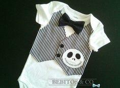 Baby Boy Vest Bodysuit, Jack Skellington Baby, Baby Boy Onesie, 1st Birthday outfit, Boy Cake Smash Outfit, Nightmare Before Christmas Baby