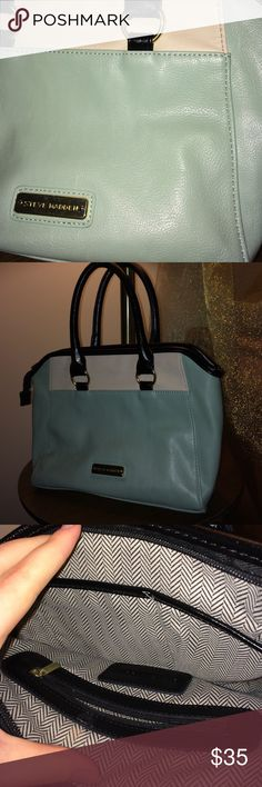 Steve Madden Bag Mint, cream, and black with gold accents. Perfect condition, love this classy bag Steve Madden Bags Mini Bags