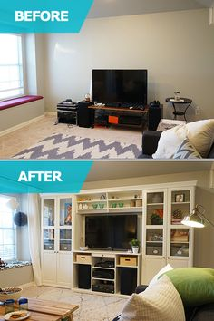 From a lack of storage and organization to a space that's functional, stylish and fun for the whole family! The IKEA Home Tour Squad helped Cassie from Hi Sugarplum! [http://bit.ly/1LtEM37] add the perfect amount of storage to her bonus room with the built-in look of the LIATORP TV storage combination.