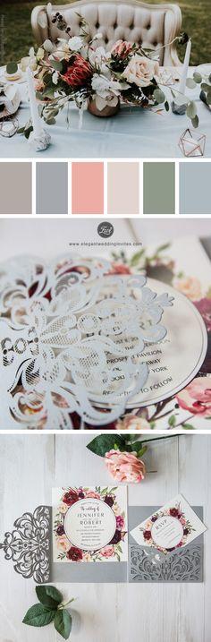 Grey Laser Cut Burgundy Floral Wedding Invitations EWWS177 #wedding #weddinginvitations #weddingtrends #wedding2018 #floralweddinginvitations #springwedding