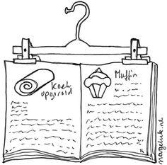 Hang je kookboek aan een keukenkastje met een broekhanger. Meer baktips? Kijk op www.nageluk.nl