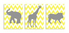 The Kids Room By Stupell Wall Decor, Gray Lion, Elephant and Giraffe with Yellow Chevron
