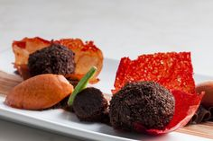 """Peruvian dark chocolate ganache, red pepper tuile, chocolate-chili mousse (made with 65% cacao and dried """"Aji Panca"""" powder), chocolate crumble, red pepper-raspberry sorbet."""