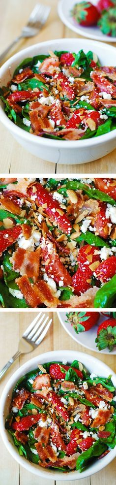 Strawberry spinach salad with bacon, feta cheese, and toasted almonds in a simple homemade balsamic vinaigrette | JuliasAlbum.com | #gluten_free #summer_recipes