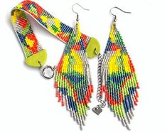Beadwork Designs, Bead Loom Bracelets, Yellow Earrings, Hanging Earrings, Soutache Earrings, Loom Beading, Beaded Jewelry, Jewellery, Gemstone Beads