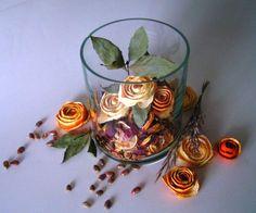 Ideas reciclaje: Rosas con cascaras de naranjas.