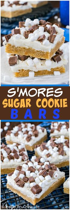 S'mores Sugar Cookie Bars - these graham cracker cookies are made and frosted in one pan. Easy recipe for summer picnics and parties!