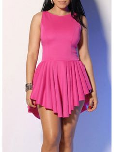 Modern Dresses: Pretty Round Neck Sleeveless Rose Dress for Woman