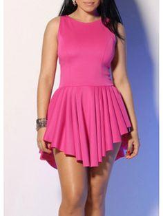 Modern Dresses: Pretty Round Neck Sleeveless Rose Dress for Woman