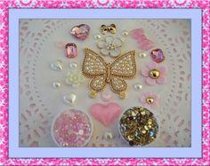 Gold pink and white DIY 3d alloy rhinestone bling by KawaiiDamaras, $14.99