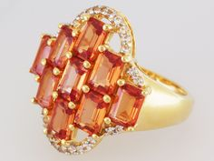 Stratify(Tm) 5.73ct Lab Padparadscha Sapphire And .25ctw White Topaz 18k Gold Over Silver Ring