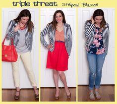 how to wear a black and white striped blazer 3 ways