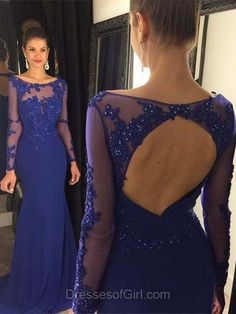 Long Sleeve Prom Dresses, Open Back Prom Dress, Royal Blue Evening Dresses, Mermaid Party Dresses, Chiffon Formal Dresses