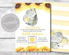 Elephant Gender Neutral Shower Invitation For Boy or Girl Baby Shower Signs, Boy Baby Shower Themes, Baby Shower Invitations For Boys, Baby Shower Cards, Baby Shower Printables, Baby Boy Shower, Etsy Cards, Elephant Baby Showers, Yellow Sunflower