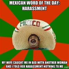 Mexican word of the day: harassment My wife caught me in bed with another woman and i told her harassment nothing to me