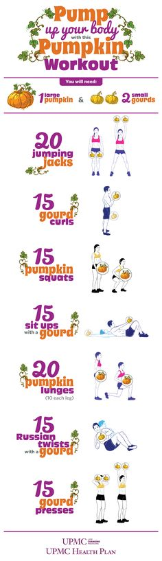Pump up your body during the holidays using pumpkins! Check out this infographic for 7 easy exercises that you can do at home with a pumpkin and 2 gourds.