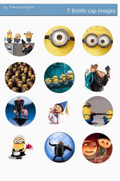 Free Bottle Cap Images: Despicable Me and minions inch digital bottle cap… Minion Birthday, Minion Party, Bottle Cap Art, Bottle Cap Images, Minion Stickers, Bottle Top Crafts, Minions 1, Movie Crafts, Button Maker