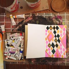 Sketchbook back in the studio, feels like holiday wrapping paper! Had fun painting with new gold gouache.