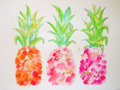 Original Art Watercolor Painting Pineapples - Tropical Gold & Pink - Wall Art, Wall Decor, Fine Art