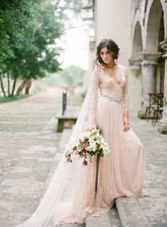 LA VIE EN ROSE blush pink tulle wedding gown with long train / http://www.deerpearlflowers.com/emily-riggs-bridal-romantic-lace-wedding-dresses/