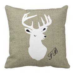 Trendy Fun Stags Head Monogram Designer Pillows