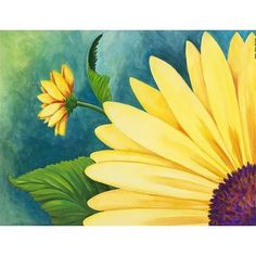 Two views of sunflowers are shown against a blue and green backdrop on the Louis Leonard Art Sunflowers by Carol Sabo Canvas Wall Art . The giclee canvas. Abstract Tree Painting, Basic Painting, Diy Painting, Painting Prints, Hydro Painting, Guitar Painting, Painting Videos, Rock Painting, Chalk Art Quotes