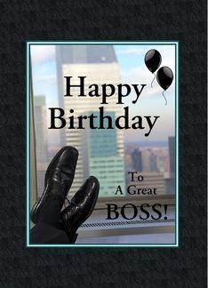 Happy Birthday For Boss Black Shoes Balloons Custom Greeting Card