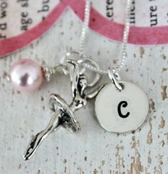 Ballerina Necklace ..Ballet Recital Gift,  Girls Personalized Necklace, Sterling Silver Charms, Hand Stamped Childrens Jewelry. $34.00, via Etsy.