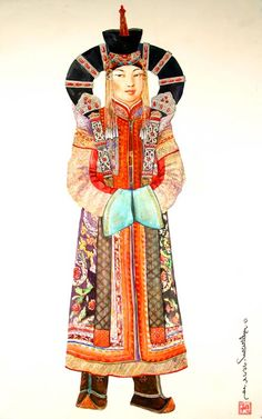 One of the most iconic things about Mongolian court dress were the headdresses the ladies wore- some being so outlandish and grand that they inspired the costumes seen on Queen Amidala in The Phantom Menace. The 'horned' headdress seen in many  pictures is called an ugalz, and was a combination hairpiece and headdress.