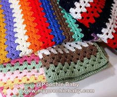 Poochie Baby Crochet Designs: Free Crochet Pattern for Granny Striped Baby Afghan