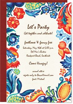 Whimsy Red & Blue Invite