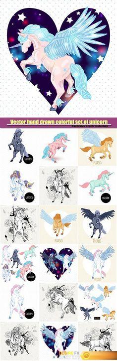 Vector hand drawn colorful set of unicorn  http://www.desirefx.me/vector-hand-drawn-colorful-set-of-unicorn/