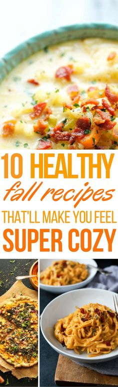 These 10 healthy Fall recipes are THE BEST! I'm so glad I found these GREAT Fall recipes! Now I have some great dinner recipes and dessert recipes to make this Fall! Definitely pinning these healthy recipes!
