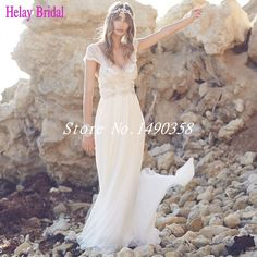 2016 Summer Boho Designer Anna Campbell Wedding Dress Beach Beaded Pearls Open Back Lace Real Photo Bridal Gown Vestido De Novia-in Wedding Dresses from Weddings & Events on Aliexpress.com | Alibaba Group