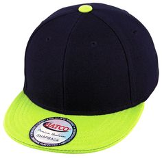 Blank Acrylic Snapback Cap - Kids - Black/Lime