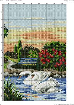 Photo Le Point, Cross Stitch Patterns, Photo Wall, Community, Knitting, Swan, River, Cross Stitch Pictures, Paisajes